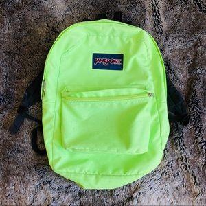 JANSPORT Neon Green & Black Backpack